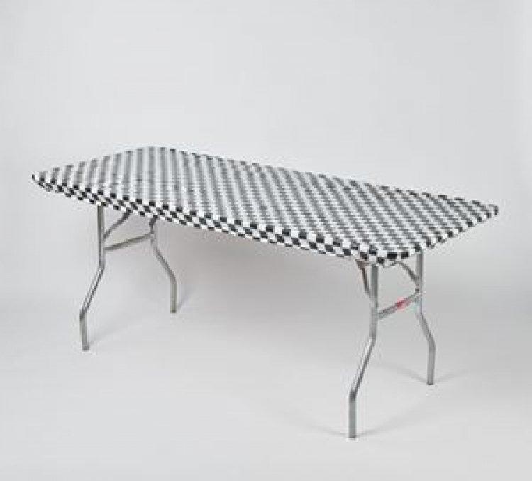 8' Banquet Kwik Cover - Black/White Checkered