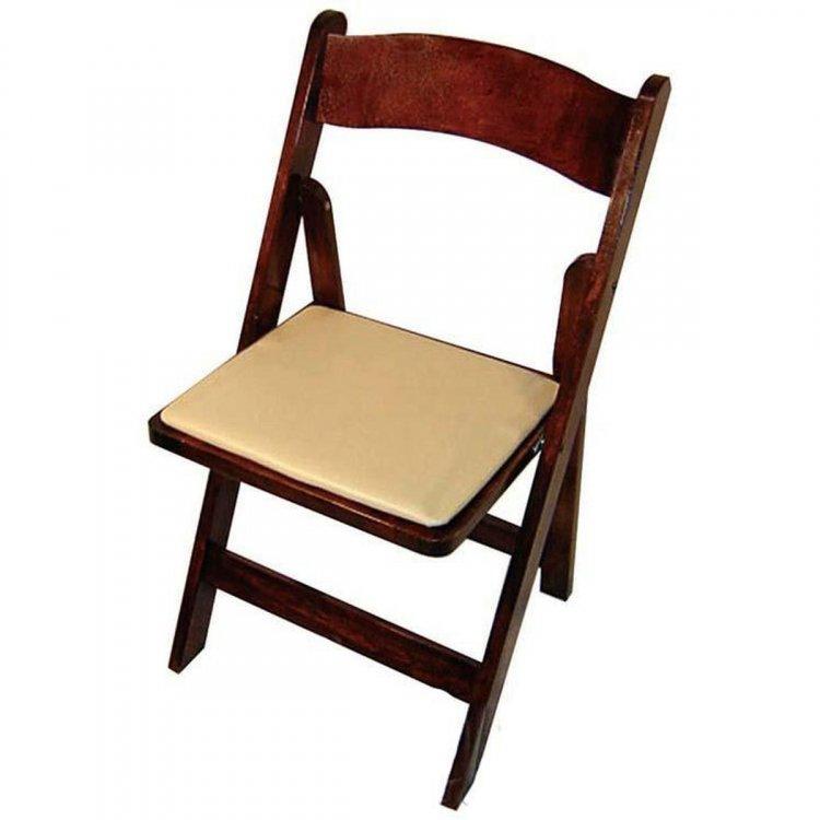 Folding Fruitwood Chair w/ tan chair pad